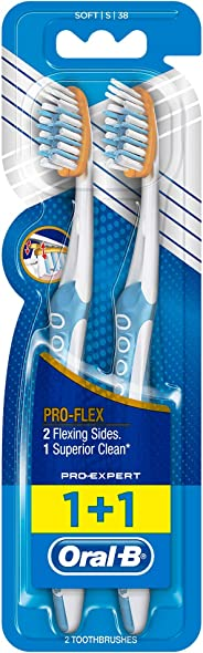 Oral B Pro-Health Clinical Pro-Flex Manual Toothbrush - 2 Pieces, Assorted Colors