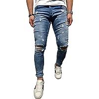 BMEIG Jeans Dechire Homme Stretch Slim Fit Skinny Denim Déchirés Pantalon Travail Patchwork Hiphop Vintage Jeans Automne…