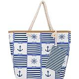 SenPuSi Große Strandtasche mit Reißverschluss Shopper Schultertasche Leinwand Sommer Schwimmbad Damen TascheVerschluss Badeta