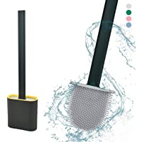 Silicon Toilet Brush (Pack of 1) with Slim Holder, Quick Drying & Anti-drip Set Holder with Long Handle Silicone Flex…