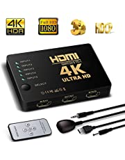 rts Intelligent 5-Port HDMI Full HD1080p 3D Switch Supports 4K with IR Remote Video Switcher