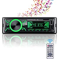 Autoradio Bluetooth Mains Libres, 4x60W Radio Voiture Support FM/USB/MP3/WMA/TF/AUX +Télécommande,7 Couleurs d'Eclairage…