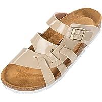 Palado® Damen Sandalen Kreta | Made in EU | Hausschuhe in vielen Farben | Pantoletten mit Natur Kork-Fussbett und…