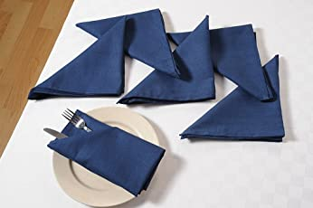 Swayam Libra Solid 6 Piece Cotton Dinner Napkins - Navy Blue