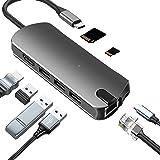 Kapa USB C Type HUB 8 in 1 Adapter, Aluminium Multi Port Dongle Type-C to Ethernet,USB 3.0, 4K HDMI, PD 3.0 Charging…