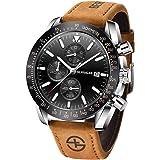 BERSIGAR Mode Montre décontractée Montre à Quartz analogique pour Homme, Montre-Bracelet à chronographe…