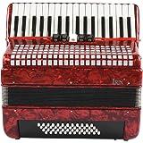 NEUFDAY 【𝐏â𝐪𝐮𝐞𝐬】 Acordeón Profesional, Rouge 34 Touches 48 accordéon pour Adultes, débutant, accordéoniste, Instrument d