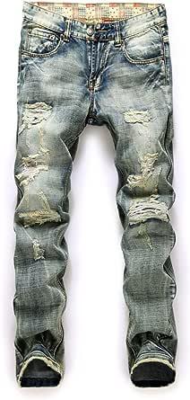 Men's Vintage Ripped Slim Fit Straight Denim Jeans Jogger Pants Vintage Style with Broken Holes