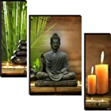 wallmax Set of 3 Buddha Religious Modern Art 6 MM MDF Framed Wall Paintings For Living Room 12 Inch x 18 Inch Paintings WAG-J