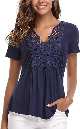 Wudodo Donna Pizzo T-Shirt con Scollo V Arredamento Camicie Cime Elegante Top Camicetta