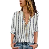 Astylish Womens Casual 3/4 Sleeve V Neck Pattern Printed Loose Tunic Blouses Tops