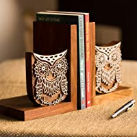 ExclusiveLane Wooden Owl Hand Engraved Book Holders Stand Case and Home Decorative Kids Room Office Heavy Book End Desk…