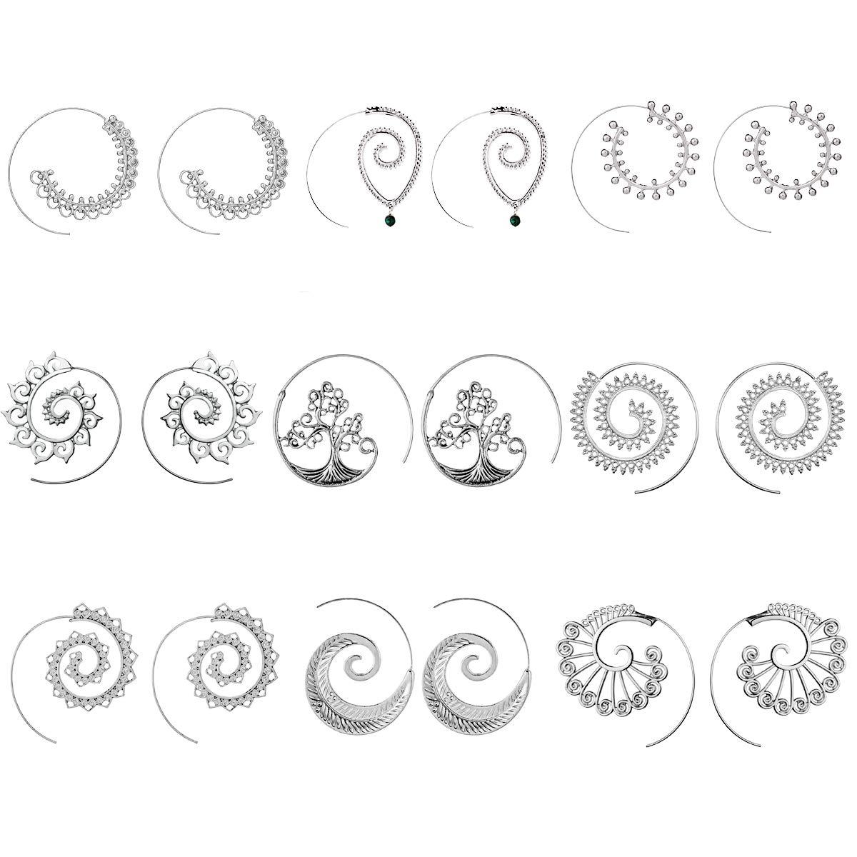 Juego de 9 pares de pendientes de espiral estilo bohemio para mujer