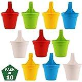 Leafy Tales Plastic Small Hook Hanging Pot, Multicolor 20.5 x 14.5 x 8.5 cm, 10 Pieces…