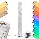Lampadaire LED Tumbas en tissus blanc, luminaire à variation d'intensité et changement de couleur par télécommande, l'abat-jo