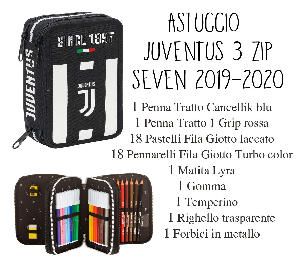 Estuche Juventus 3 Zip 2019-2020 oficial – Seven