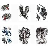 Pinkiou Body Stickers para hombres, adultos, brazos, piernas, pecho, espalda, maquillaje, animales, tatuaje temporal, pegatin