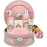 Coffret Cadeau Femme Soin 1 Gel Douche 250ml, 1 Creme Main 25ml, 1 savon 100g, 1 Lait Corps/Parfum Rose, Pêche, Patchouli/Ide