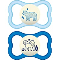 MAM Latex Air Night Soothers 12 Months + (Pack of 2), Glow in the Dark Baby Soothers with Self Sterilising Travel Case, Newborn Essentials, Blue, (Designs May Vary)
