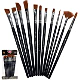 KANO Painting Brushes Set of 12 Professional Round Pointed Tip Nylon Hair Artist Acrylic Cosmetic makeup brush Paint Brush fo
