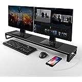 Vaydeer Soporte Monitor Dual con 8 Puertos concentradores USB 3.0, Soporte Monitor Mesa Que admite Transferencia de Datos par