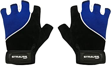 Strauss Sporty Cycling/Gym Gloves, Medium, (Black/Blue)