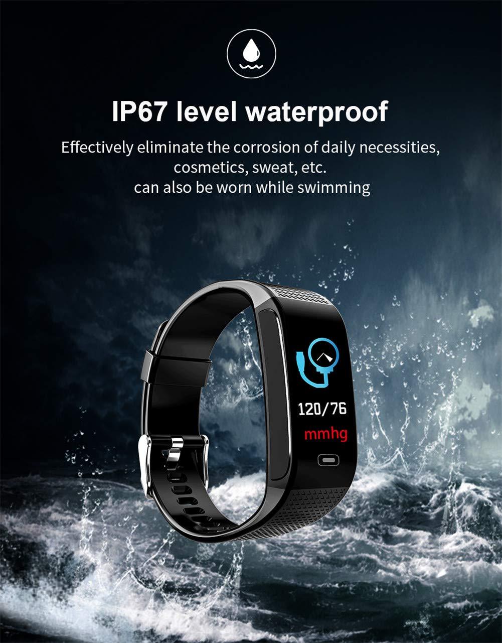 Hunterace Reloj Inteligente Hombre o Mujer, con Monitor de frecuencia cardíaca, con Contador de Pasos, multifunción, Resistente al Agua, Pulsera Inteligente (3 Colores) 5
