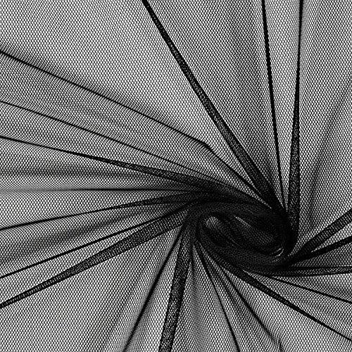 Fabulous Fabrics Tüll schwarz, Uni, 145cm breit - zum Nähen von Brautschleiern, Petticoats und Röcken - Meterware erhältlich ab 0,5 m