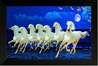 SAF Synthetic Photograph 7973F 7 Running Horses Vastu Painting for Home and Office (Multi-Colour, 35cmx 2Cmx 50Cm)
