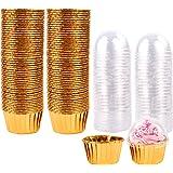 Étuis à cupcakes métalliques 100Pcs Étuis à cupcakes, Étuis à pâtisserie, Tasses à pâtisserie, Doublures à cupcake Cupcakes p