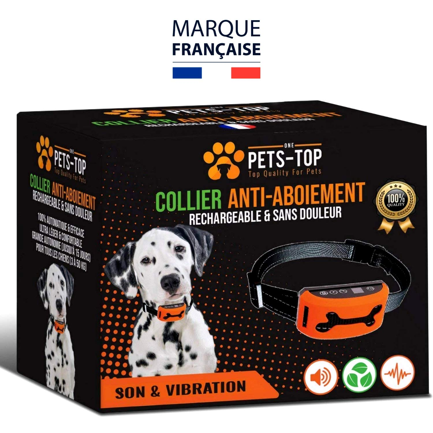 One PETS-TOP Anti-Bark Dog Training Vibration Collar Waterproof 7 Levels Adjustable Strap All Breeds 3-50 Kg French Brand Ebook Offered Dressage Dissuasive System Compatible Crying