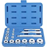 FreeTec 17 Piezas Set de Rodamiento de Rueda Juego de Piezas a Presión para Montaje Extractor de Herramientas para Cojinetes