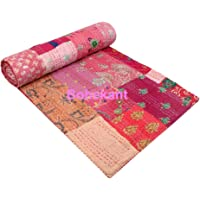 """BOHEKANT Hand Made Silk Patch Work Indian Kantha Quilt Bed Spread Blanket Queen Size Coverlet (Size 90"""" X 108…"""