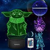 Star Wars 3D LED Luz de noche, Lámpara de ilusión Cuatro tipos y 16 colores Lámpara de decoración Cambio - Regalo perfectos p
