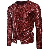 Men's Faux Leather Jacket Fashionable Short Slim Jacket Oblique Zipper Iron Ring Decoration Leather Jacket Fall Winter Classi