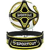 Sportout Fotboll sparktränare, fotboll träningshjälp breddat sidomidjeskydd, tvåvägs justering av bältets längd, perfekt för