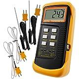 Thermomètre De Type K Avec Capteur De Thermocouple 1300 ° C (° C, ° F Et K Avec 4 Thermocouples (câblé Et Acier Inoxydable)