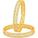 Sukkhi Incredible Gold Plated Set of 2 Austrian Diamond Bangles for Women (32005BADV750-AMZ_2.8)