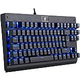 EagleTec KG040 Gaming Tastatur LED BLAU Beleuchtete Mechanische Tastatur Blaue Schalter Für PC Gamer Büro USB Kabel Gebunden 87 Tasten Kompaktes Ergonomisches Design (Deutsch QWERTZ Layout)
