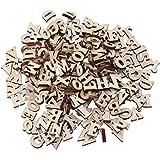Kicode 100pcs Lettres en bois pour Arts Artisanat Bricolage Affiche D/écoration couleur Nature