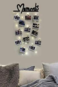Vah Wood Hanging Photo Display Picture Frame Collage Organizer with Clips - a Moments (Black) (VWH_65 cm x 47 cm x 1.2 cm)