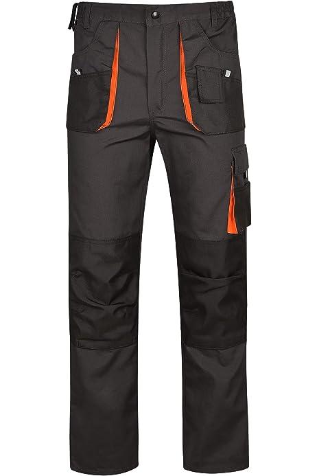 Stenso Desman/® Pantalones de Trabajo Estilo Cargo para Hombre Gris//Naranja