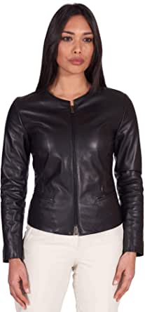 D'Arienzo Giacca in Pelle Donna Nera Primaverile Vera Pelle Giacca Made in Italy Clear