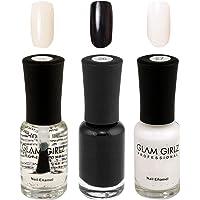 Glam Girlz Nail Polish-Combo(25-26-27) Transparent, Black, White (Pack of 3)
