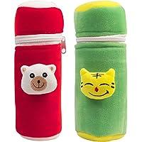 Ole Baby® Dual Colour Velvet Pop-up Face Plush Feeding Bottle Cover (Blue; 240 ml; Pack of 2)