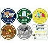 Lot de 6 Étiquettes Autocollant pour la Gestion des déchets – Stickers Recyclage – Format Rond 9.8CM - Texte en Français