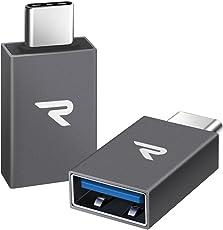 Rampow Adattatore USB C 3.1[OTG] - 2 Pezzi Tipo-C (Maschio) a USB A (Femmina) Adattatore - GARANZIA A VITA - USB Type C/Adattatore Type C per MacBook Pro 2016/2017,Nexus,OnePlus,Samsung S8 e Altri