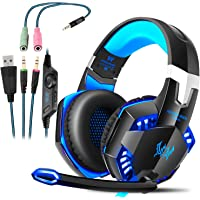 Elepawl Gaming Headset, G2000 USB Stereo Sound Over-Ear Headphones with Microphone Mic Volume Control 3.5mm Audio Noise Reduction