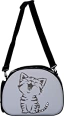 Urbancart Printed pet Carrier with Durable Sling Holder and Zipper Opening (Grey : Cat)