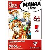 Clairefontaine 94042C Bloc Encollé Papier Manga et Illustration - 50 Feuilles Papier Dessin Blanc Extra Lisse A4 21x29,7 cm 1